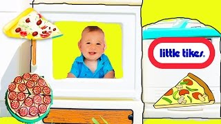 GIANT PLAY KITCHEN Cooking Baby Eli Make PIZZA! Pretend Play Fun Fridge + Oven
