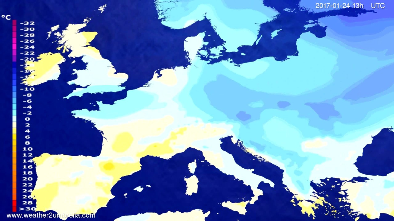Temperature forecast Europe 2017-01-21