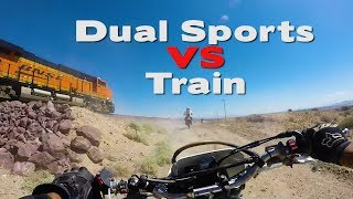 Dual Sports vs Train...A Race Through The Mojave Desert by Giant Rock