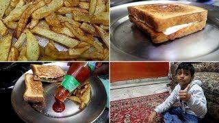 Evening tea time Routine || Sham ka nasta || Lunch box recipe for kids||cheese sandwich,fried potato