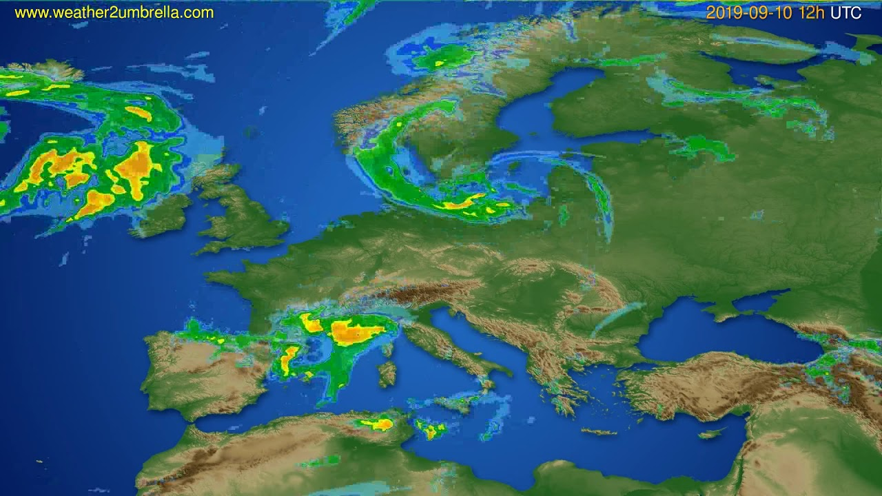 Radar forecast Europe // modelrun: 00h UTC 2019-09-10