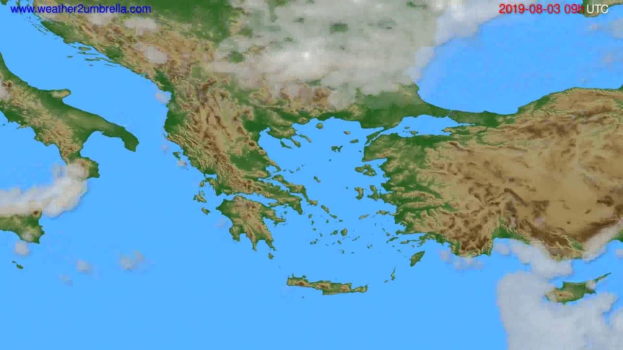 Cloud forecast Greece // modelrun: 12h UTC 2019-08-01