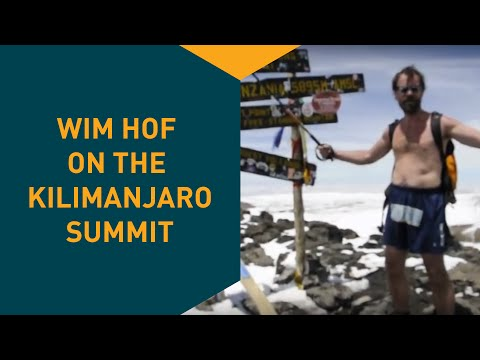 Wim Hof on Khilimanjaro summit in shorts