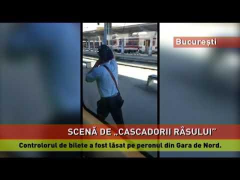 """Un controlor de bilete, """"uitat"""" pe peronul Gării de Nord din București"""