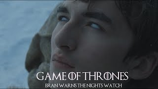 Game of Thrones 7x01. Bran Stark and Meera arrive at the Wall. Bran warns the Nightwatch of the Whitewalkers which ultimately gets him saved.