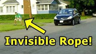 People Are Totally Being Fooled Here: Invisible Rope Prank :))