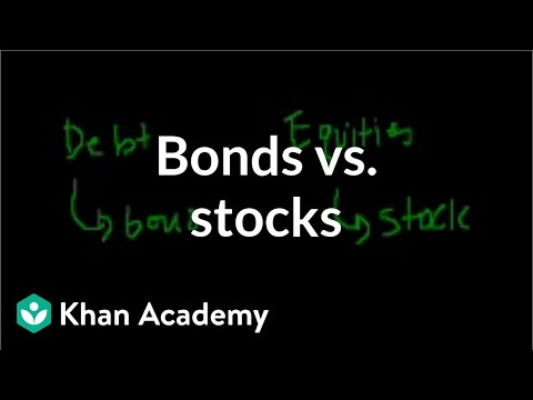 bond - Learn more: http://www.khanacademy.org/video?v=rs1md3e4aYU The difference between a bond and a stock.