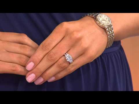Epiphany Diamonique 2.95 ct tw 100-Facet 2-pc. Bridal Ring Set with Alberti Popaj