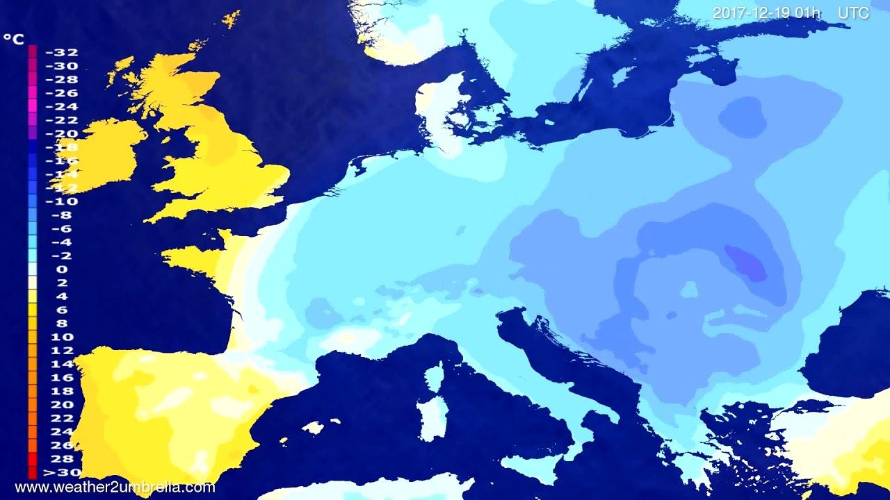 Temperature forecast Europe 2017-12-16