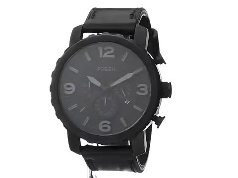 , title : 'Fossil Men's JR1354 Nate Stainless Steel Chronograph Watch with Black Leather Band'