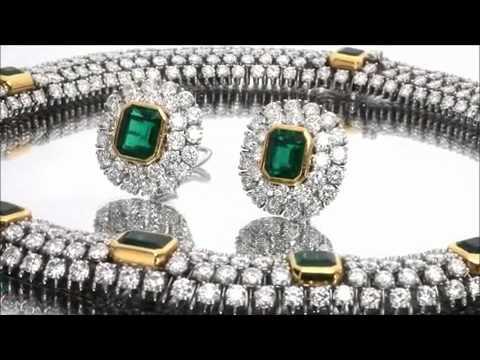 TIFFANY & CO. Platinum Gold Diamond Emerald Necklace & Earrings Jewelry Set