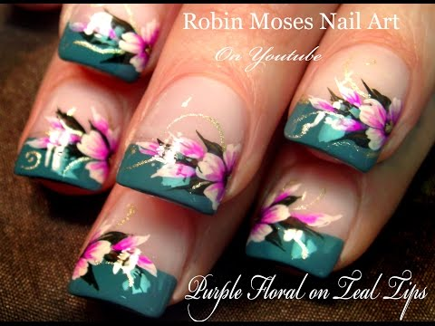 nail art design - easy flowers on french tips