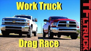 2017 Ram 2500 vs 2017 Chevy 2500: Gas V8 Work Truck Drag Race by The Fast Lane Truck