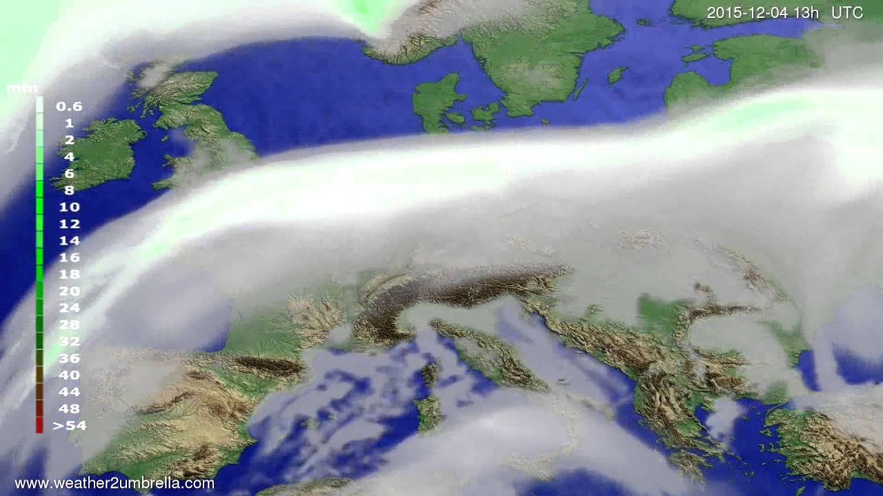 Precipitation forecast Europe 2015-12-01