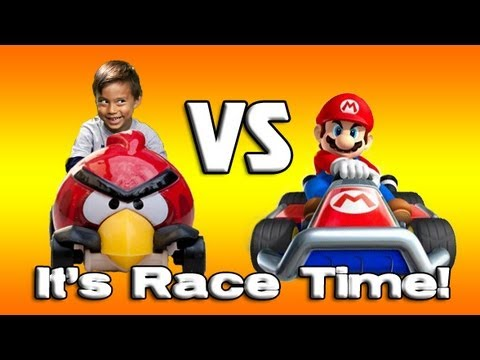 ANGRY BIRDS VS. MARIO KART! Angry Birds Hot Wheels Slingshot Launch Review & Demo