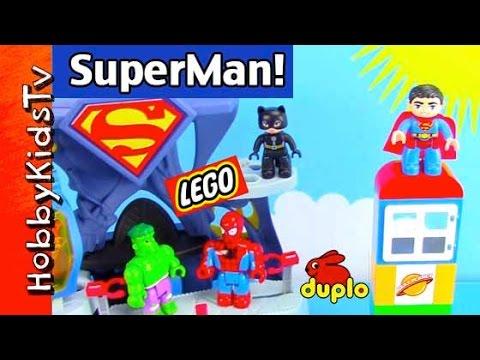 hero - HobbyKidsTV presents Joker attacks Lego Superman with kryptonite. Batman flies him to the sun and Hulk smashes Joker. HobbyMom shoots the Batwing. HobbyKid builds the Duplo Kit. This video...