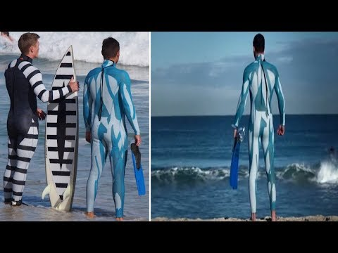 World First Anti-shark suit makes surfers 'invisible'