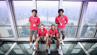 Alexandre Lacazette, David Ospina, Ainsley Maitland-Niles and Reiss Nelson travel up to the 100th floor of the famous World ...