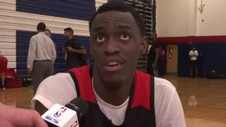 Pascal Siakam meets with the media after Wednesday's Summer League practice.