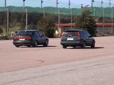 saab 9000 vs. volvo 855 drag race