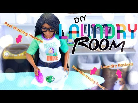 DIY - How To Make: Doll Laundry Room With REAL Working Washing Machine