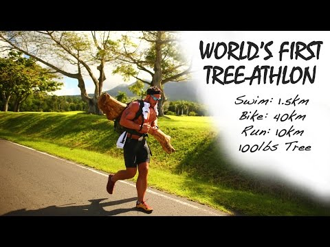 World's First Tree-Athlon | Swim: 1.5km, Bike: 40km, Run: 10km with 100lbs Tree (видео)