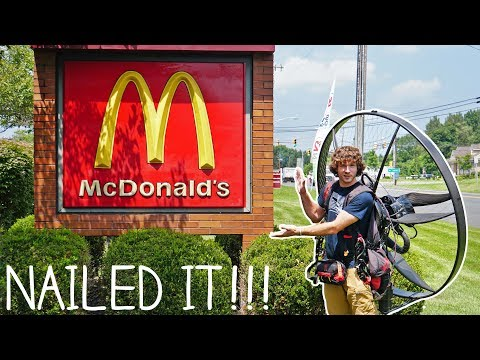 Guy flies to McDonalds with his Paramotor