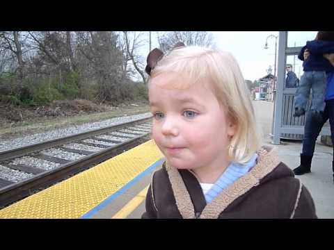 Little girl sees train for the first time