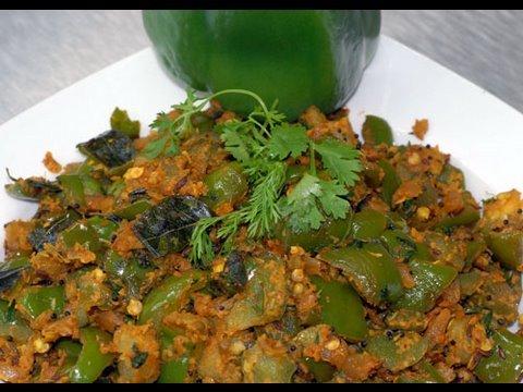 Capsicum Masala – Green Pepper Masala – By VahChef @ VahRehVah.com