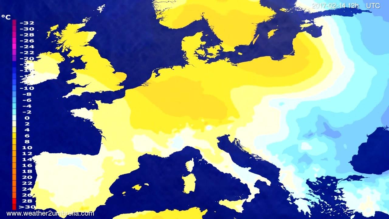 Temperature forecast Europe 2017-02-10