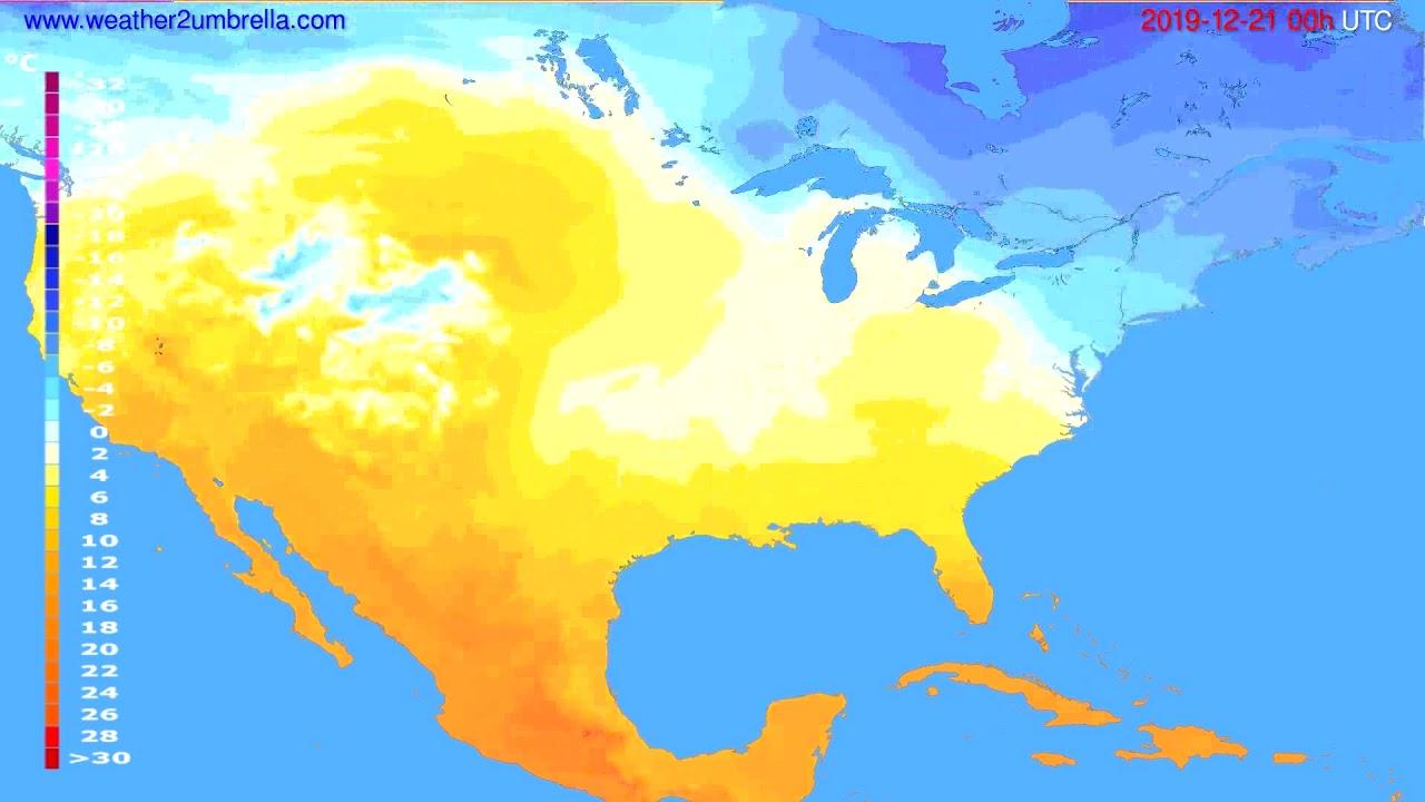 Temperature forecast USA & Canada // modelrun: 00h UTC 2019-12-20