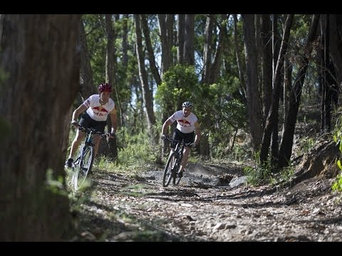 Craig Lowndes and Jaime Whincup battle in mountain bike race
