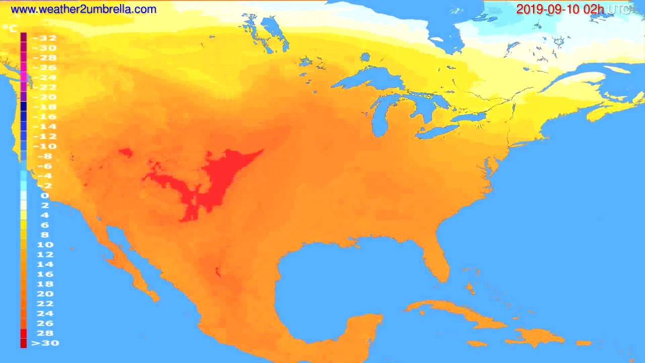 Temperature forecast USA & Canada // modelrun: 12h UTC 2019-09-07