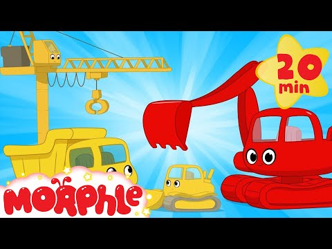 My Magic Living Construction Vehicles!  Morphle Excavator, Bulldozer, Dump Truck and Crane videos