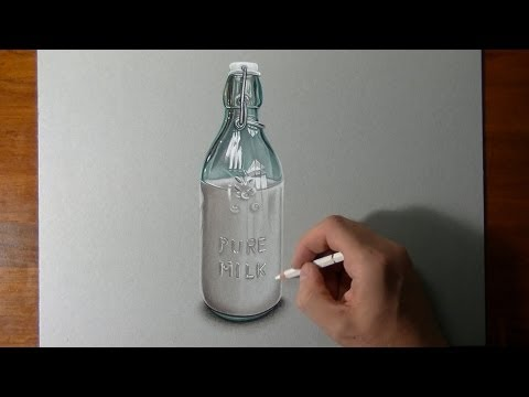 Drawing Time Lapse: a bottle of milk