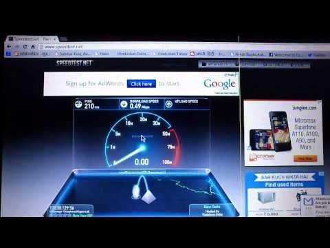 MTNL 3G HSDPA Speed Test.