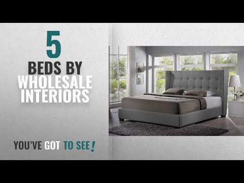 Top 10 Wholesale Interiors Beds [2018]: Baxton Studio Favela Linen Modern Bed With Upholstered