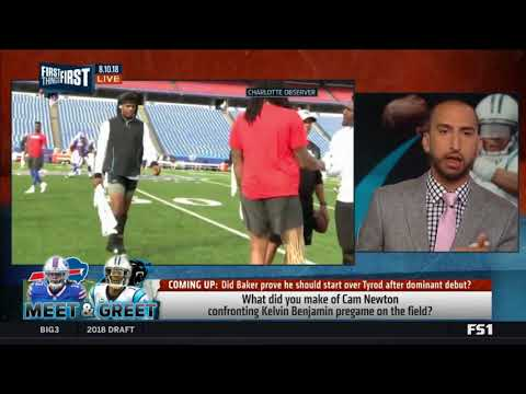 Cam Newton confronts Kelvin Benjamin heated pregame exchange field | First Things First 08/10/2018