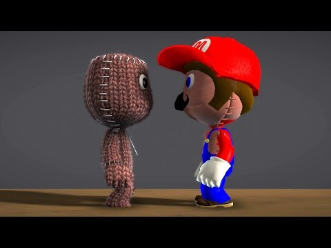 LittleBigPlanet 3 - Sackboy's Prize Bubble Calamity - Sackboy Vs Super Mario - Short Funny Animation