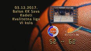 kk sava kk dynamic 52 62 (kadeti, 03 12 2017 ) košarkaški klub sava