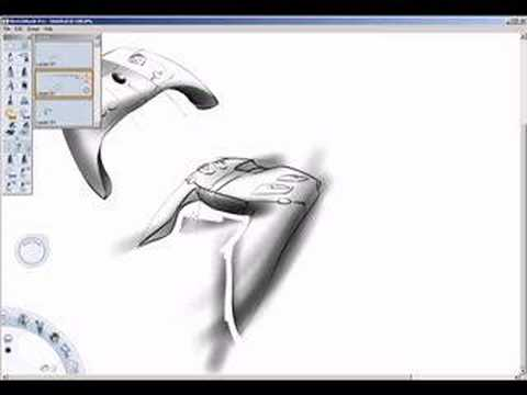 wacom tablet - Using Autodesk Sketchbook Pro to design a games-controller (1.5x realtime)