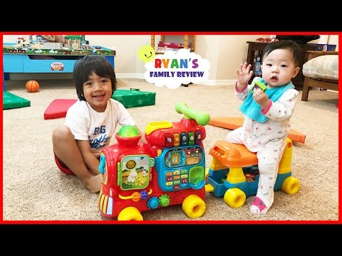 Vtech Sit-to-Stand Alphabet Train playtime and unboxing toy review with Ryan's Family