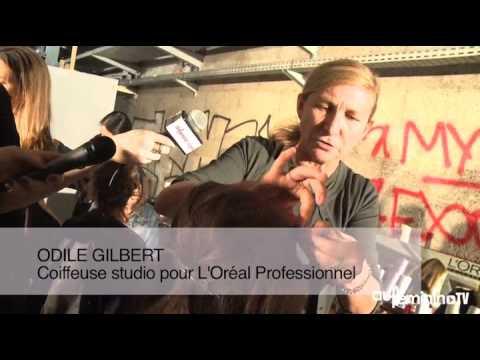 Backstage du défilé Alexis Mabille PE 2014 avec Odile Gilbert, coiffeur studio L'Oréal Professionnel