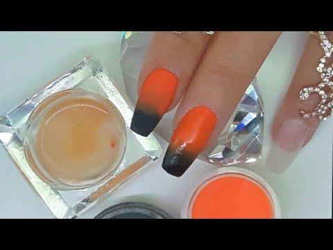 Videos de uñas - Uñas acrílicas diseño para el Día de Muertos o Halloween + calabaza en 3D