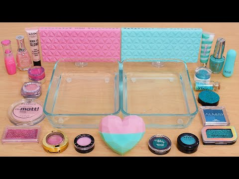 Pink vs Teal - Mixing Makeup Eyeshadow Into Slime ASMR 367 Satisfying Slime Video
