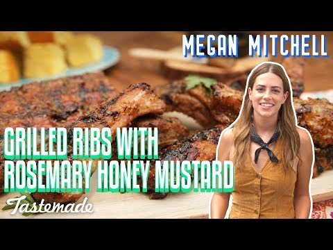 Grilled Ribs With Rosemary Honey Mustard I Megan Mitchell