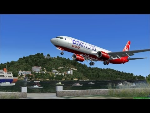 【FSX】SKIATHOS X OUTSIDE VIEW LANDINGS #002 [FULL-HD1080P] BOEING 737-800 AIRBERLIN