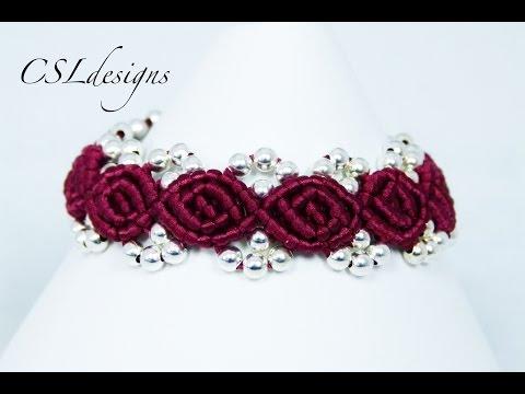macramè - bracciale con boccioli di rosa