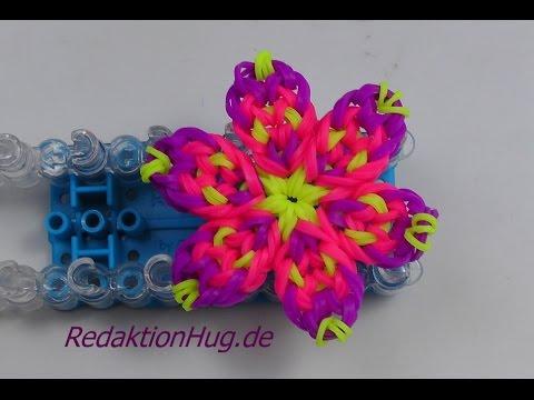 Loom Bands mit Rainbow Loom Blume Anleitung Deutsch O