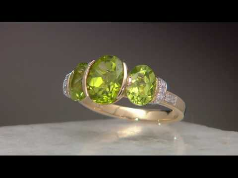 Oval 3-Stone Peridot & Diamond Ring 14K Gold 3.00 cttw on QVC